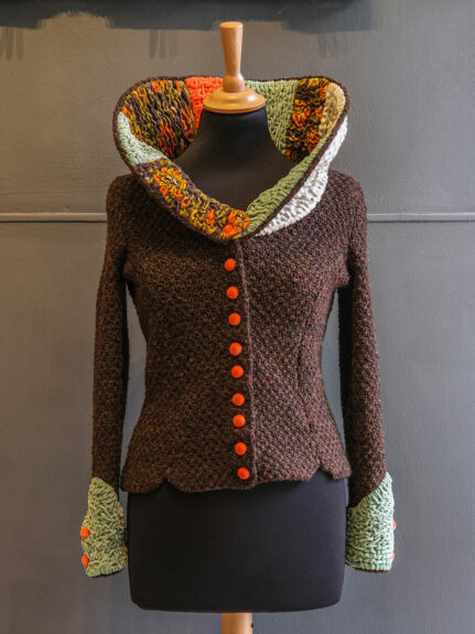 Kathrens Rare Knitwear one-off jacket #1 - front with collar up